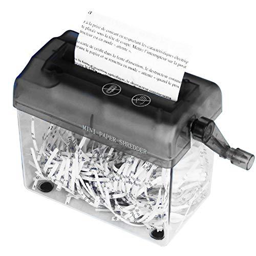 Distruggi documenti manuale da ufficio, portatile, adatto per fogli formato a6 o formato a4 ripiegato, taglio dritto black
