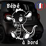 Sticker bébé à bord pour voiture Petit Dragon 20 cm Blanc - Anakiss
