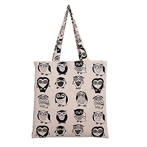 Nuni Damen Einkaufstasche mit niedlichem Eulenmotiv, Baumwolle, Beige (Black Owl/Zip Closure), Medium -