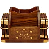 PEBBLE CRAFTS Handcrafted Wooden Pen Stand Cum Mobile Stand Cum Coaster Set With Brass Inlay Works Decorative Holder | Tabletop Coasters For Tea Coffee Cups Mugs Beer Cans Bar Glass For Office Home | House Warming | Birthday | Return Gifts