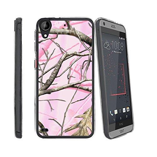 Flexible miniturtle Fall Kompatibel mit HTC Desire 530/HTC Desire 630/HTC Desire 550(2017) [Flex Force] Schmalem Flexi Case Klar, Pink Hunters Camouflage (Einzigartige Htc Desire Telefon Fall)