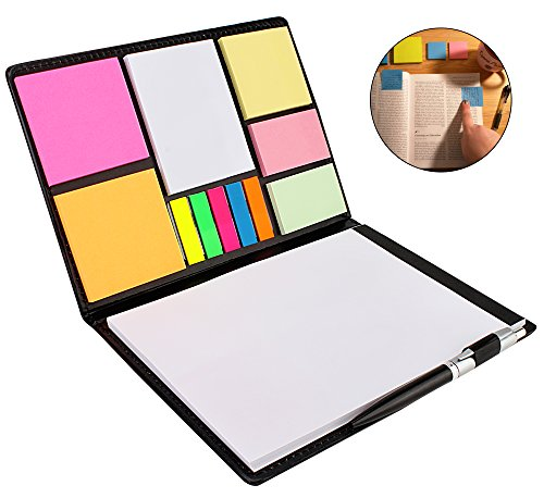 7Trees Faux Leather Sticky Note Folio Case With Writing Pad And Ballpoint...