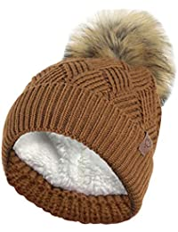 RockJock Ladies Warm Chunky Diamond Cable Knit Hat with Thermal Teddy Fleece  Lining and Detachable Faux 96541d20b1c9