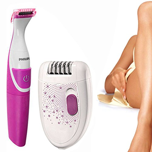 PHILIPS Corded 2 in 1 Epilator Shaver Hair Trimmer Clipper Body Remover for Women Ladies -77  available at amazon for Rs.7499