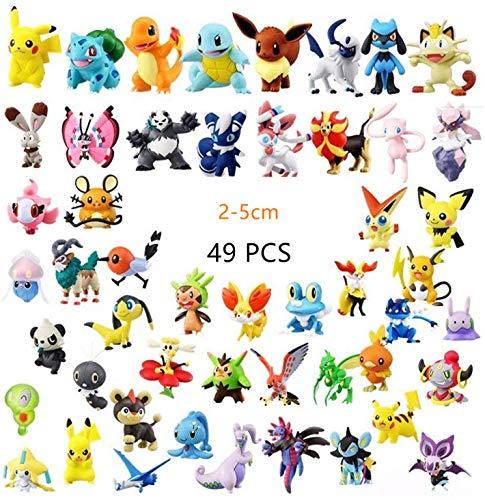 Hyde Pokémon Pearl Minifiguren Set 49 Stück, 48 Stück Pokemon Mini Action Figuren und 1 Stück 3D Pokémon Schlüsselanhänger für Kinder und Erwachsene, 48 zufällig, Nicht wiederholen.