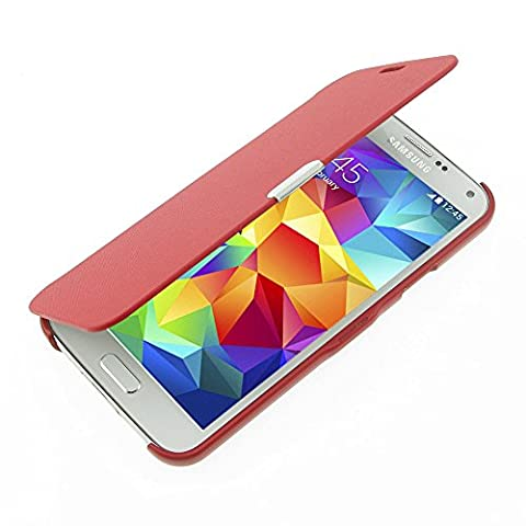 S5 Coque, Galaxy S5 Coque, MTRONX Ultra Slim Flip Magnetic Cuir Etui Housse Poche Cas Couverture pour Samsung Galaxy S5 - Rouge(MG-RD)