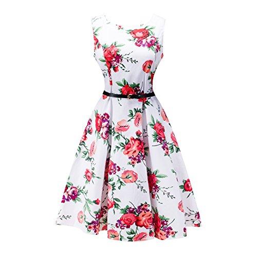80er Kleid, Lylafairy Damen A-Linie 50er Vintage Abendkleid Rockabilly Kleid Knielang Festliches Pin Up Kleid Partykleider Cocktailkleider (38, 06Blumen) (80er Leder Jahre)