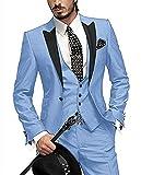 O.D.W Herren Übergrößen Anzug Glanzanzug Sakko mit Hose Weste Sakko Männeranzug Hochzeit 3-Teilig (Hellblau,54)