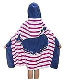 Comfysail 100% Baumwolle Kinder Kapuzen Poncho Handtuch Bade Badetuch für Jungen und Mädchen von 2-7 Jahren Strand 76*127cm (Rose)