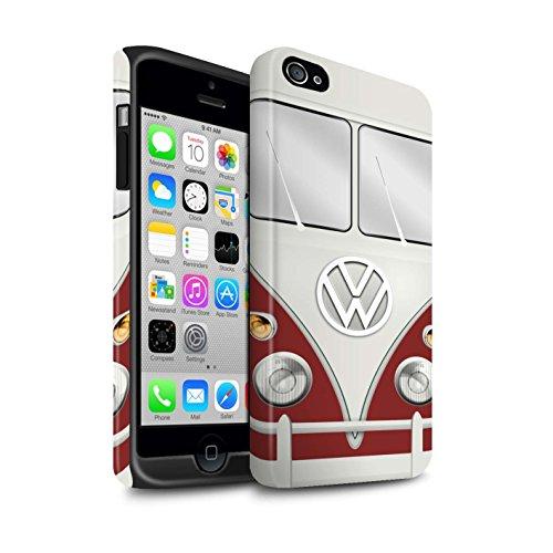 STUFF4 Matte Harten Stoßfest Hülle / Case für Apple iPhone 4/4S / Maus Grau Muster / Retro T1 Wohnmobil Bus Kollektion Titan Rot