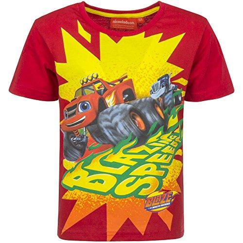 Blaze e le mega macchine - t-shirt maglia maglietta a maniche corte full print- bambino - novità prodotto originale 6641eq [rosso - 6 anni - 116 cm]