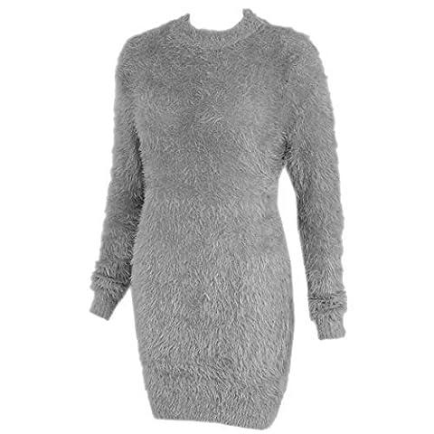 Damen Lang Pelzig Pullover Kleid Weich Flauschig Mohair Überdimensional Stretchtop - Grau Kunstpelz, XL/XXL