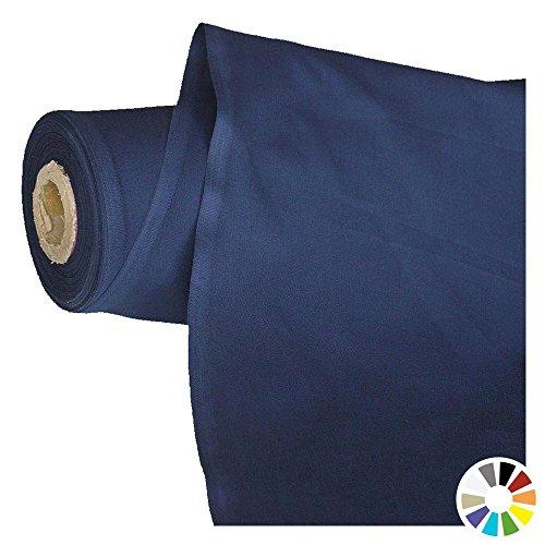 TOLKO Baumwollstoff Meterware - OEKO-TEX® Baumwoll-Qualität, Leichter Klassiker zum Nähen und Dekorieren (Marine-Blau) (Stoff, Material Zum Nähen)