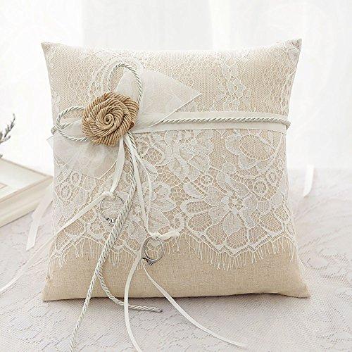 Cojín para alianzas de boda hechas a mano con Flores arpillera 21 cm * 21 cm