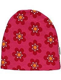 MAXOMORRA Mädchen Mütze Pink Blume Beanie Velour Anemone BioBaumwolle Gots