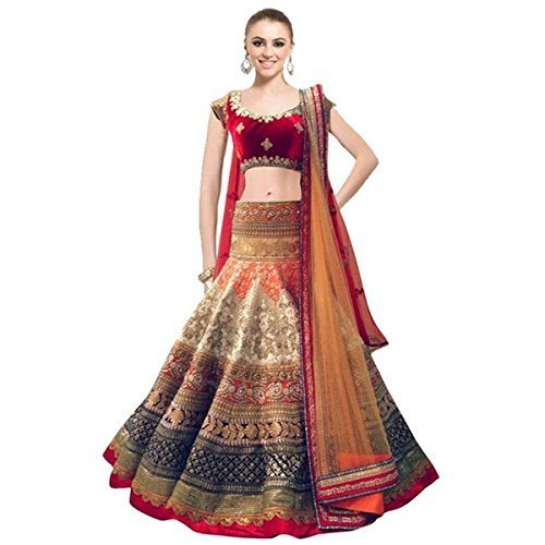 Crazy Villa Georgette Lehenga Choli (CR9_Red_X-Large)