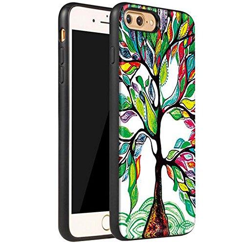 Iphone 7 Bunt Gemalt Matte 360-Grad Schutzhülle,SUNAVY 4-in-1 PC Rückenschale + Weich Leder-pu + Gehärtetes schutzfolie + Eingebaut Magnet für Apple7,4.7zoll,Auge Fröhlicher Baum