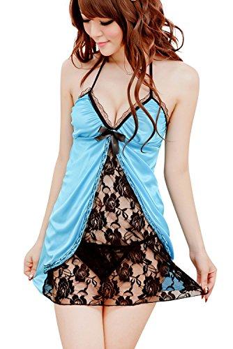 Shangrui Femminile Lace Stampa di Biancheria Intima di Modo Pigiama Stile W207 Blu