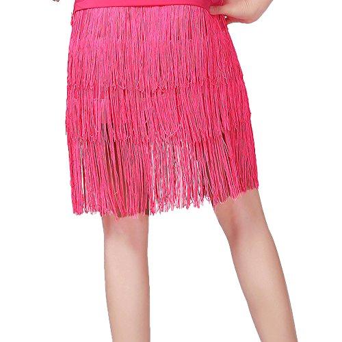 (Xueyanwei Frauen Classic Latin Dance Kleid Büste Rock Quaste Rock Milch Seide Tanz Kleid Tanz Show Kostüm,Pink,L)