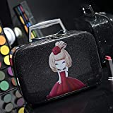 SEEKER Cosmetic Bag Tragbare große Kapazitäts-Speicher-Beutel-wasserdichte reizende Reise Damen kosmetische Fälle Multi-Funktions-Profi (Color : Black, Size : S. 23cm 8cm 15cm)