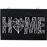 Kit String Art modèle Home forme rectangle en bois noir 30 x 20 cm pour la déco DIY