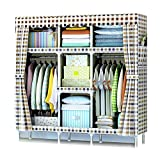 XIAONUA Schrank-Regale hängend, Garderobe-Organisator der Kleiderschrank-Garderobe, Kleiderschrank aus Stoff für Schlafzimmer, abnehmbar,A_64.9x17.7x66.9inch