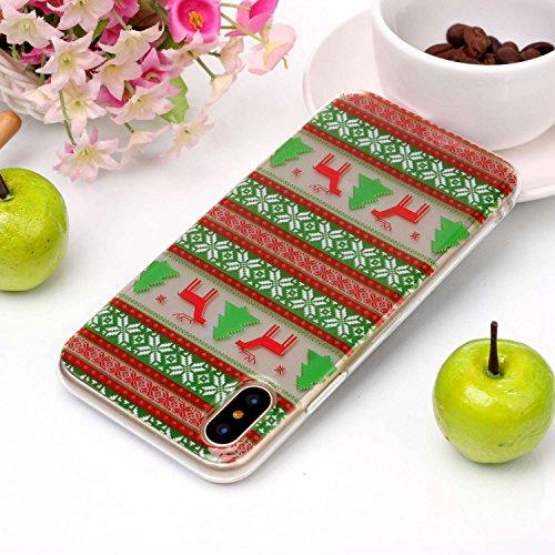 Cover iPhone X, Sportfun morbido protettiva TPU Custodia Case in silicone per iPhone X Natale (04) 05