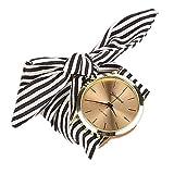 Montres Femme Amlaiworld Mode Femme Stripe Floral Tissu Cadran Quartz Bracelet Montre...