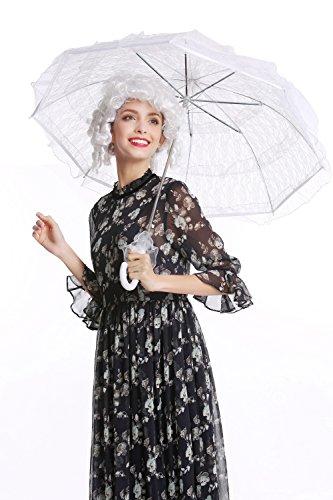 DRESS ME UP YS-003W Parasol Spitze Sonnenschirm Barock Rokoko Viktorianisch Biedermeier Weiß Gothic...