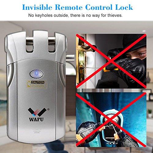 WAFU WF-018 Cerradura Inalámbrica Inteligente Cerradura Control Remoto Cerradura Invisible con 4 Control Remotos, Plata