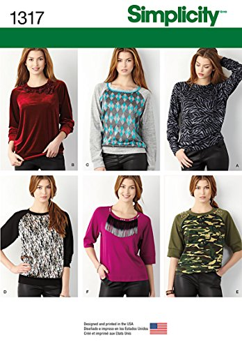 fe3112b0404bf Simplicity creative inc p 0039363513179 Simplicity Creative Patterns 1317  Misses Pullover Knit Top Sewing Patterns Size A Xxs Xs S M L Xl Xxl  Us1317a- Price ...