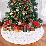 Funkprofi Weihnachtsbaum Rock Plüsch, Weihnachten Baumrock weiß Weihnachtsbaum Schürzemit golden Schneeflocken für Christmas -