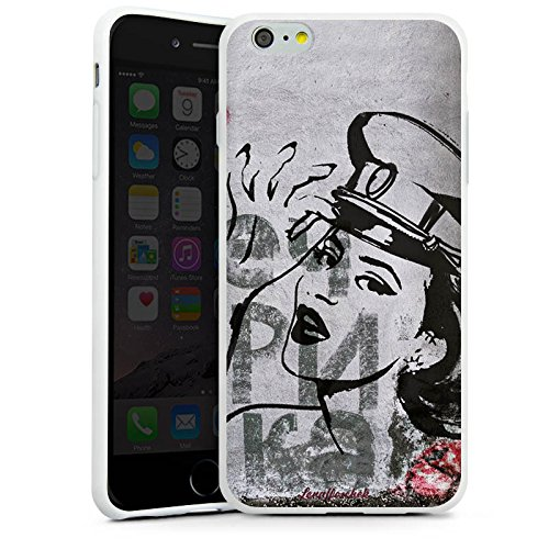 Apple iPhone X Silikon Hülle Case Schutzhülle Frau Zeichnung Fashion Mode Silikon Case weiß
