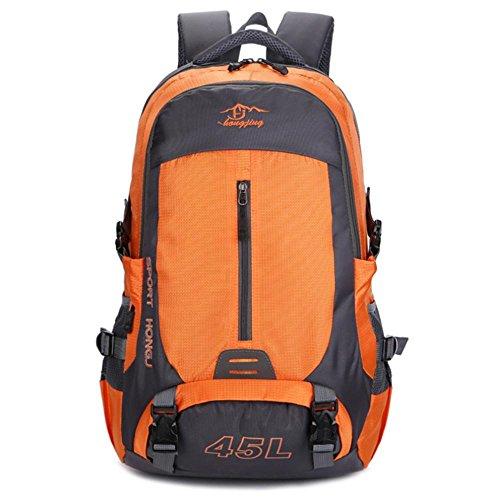 Viaggi TJ nuovo tempo libero zaino di sport esterni di alpinismo di grande capienza impermeabile Uomini E Donne Borsa a tracolla in nylon , green Orange