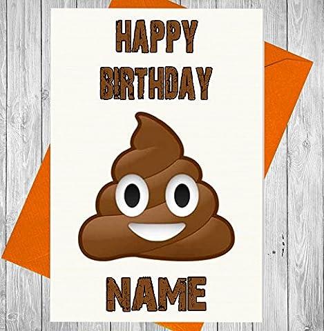 personnalisé emoji déjections canines/Caca carte d'anniversaire–n'importe quel nom et âge