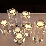 DecentGadget® Glass Tealight Candle Holder//Portacandele in Vetro per Decorazioni Natalizie (Solo 8cm)