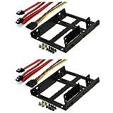 Rhombutech® SET2x Einbaurahmen für 2x 2,5 Zoll Festplatten/SSD auf 3,5 Zoll Metall - sehr stabil - optimiert für SSD - Halterung Schienen inkl.Befestigungsschrauben (SET 2x SSD DUAL Einbaurahmen II)