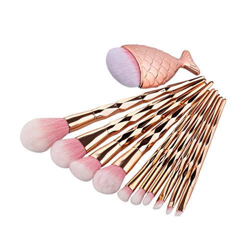 ESAILQ 11 Pcs Make Up Fondation Sourcils Eyeliner Blush CosmÉTique Concealer Brosses Outil Maquillage CosmÉTique Ensemble Fard À Joues Brosses Fard À PaupiÈRes Trousse Pochette (Multicolor)