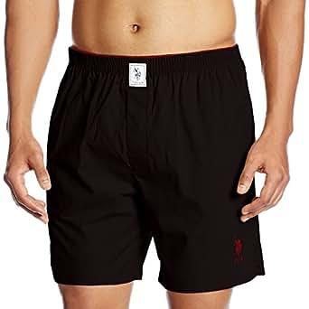 US Polo Association Men's Plain Cotton Boxer (8907686184470_I108_Black_Small)