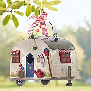 Pureday Hanging Decorative Caravan Birdhouse, Wood/Metal, W26 x D13 x H23 cm from PureDay