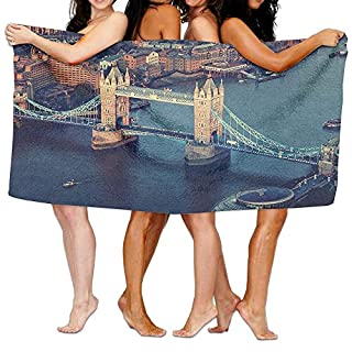 London London Aerial View with Tower Bridge at Sunset Internatinal Big Old UK British River Soft Fast Drying Beach Towel Pool Towel 30x50