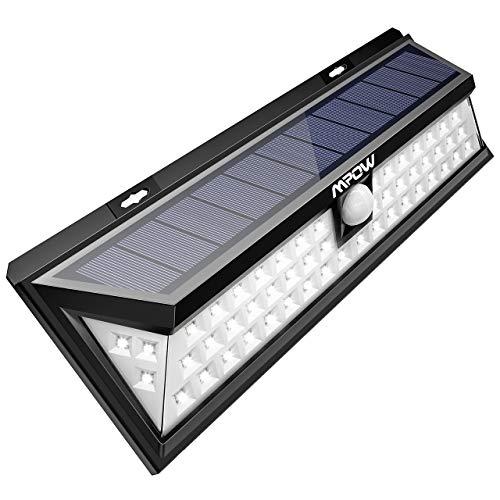 Mpow 54 LED Solarleuchte Außen Wasserdichte Solarbetriebene Lampe mit 120° Weitwinkel Bewegungsmelder Solarlicht für Garten, Terrasse, Auffahrt, Pfad, Hof, Balkon