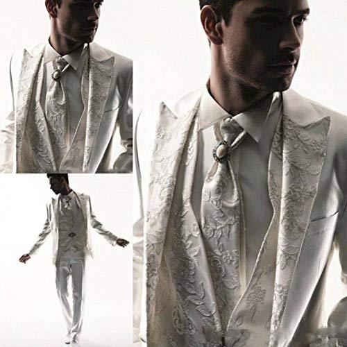 White Kostüm Tuxedo - GFRBJK Applique Men Tuxedos Business Anzug Anzug für Herren Applique Hochzeitsanzug Bräutigam White Tuxedos , XXXL , H