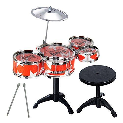 TOYANDONA Kinder Drum Set Junior Einstellbar Trommel Becken Sticks Hocker Musikinstrument Kinderschlagzeug für Anfänger (Rot)