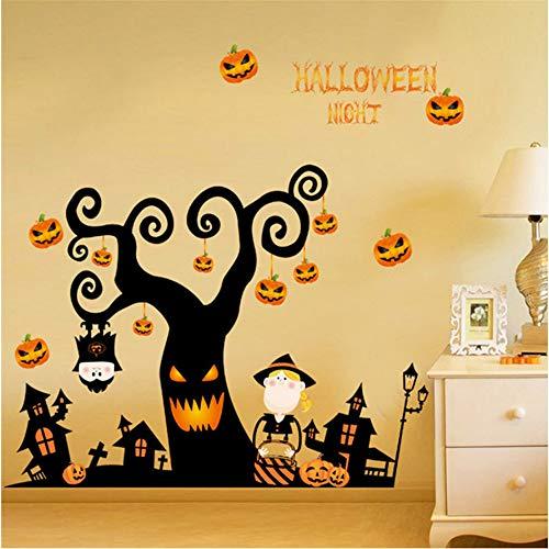 Zxfcccky Happy Halloween Kürbis Wandaufkleber Fenster Dekoration Abziehbild Dekor Halloween Hexe Wandaufkleber Foto Wandbild Tapete