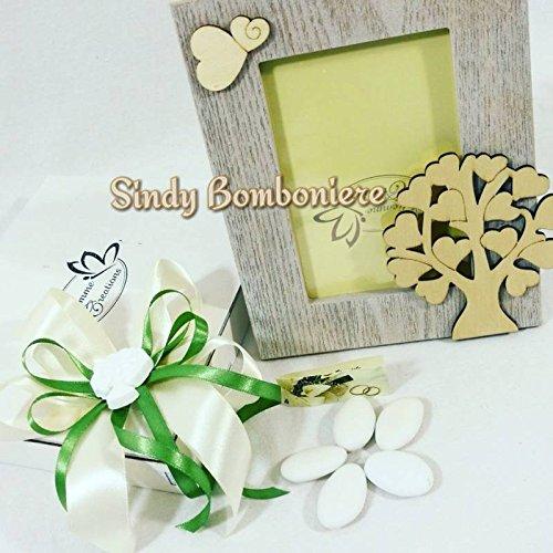 Sindy bomboniere bomboniera battesimo comunione cresima nascita cornice portafoto in legno albero della vita farfalla (completa di materiale per confezionarla)
