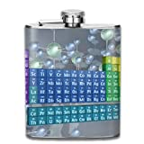 Periodic Table Of The Elements And Molecules 7 Oz Printed Stainless Steel Hip Flask For Drinking Liquor E.g. Whiskey, Rum, Scotch, Vodka Rust Great Gift