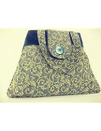 a2c72a0683 Borsa a spalla - handmade in Italy in velluto color avio e tessuto damascato