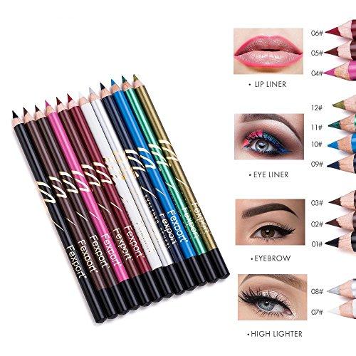 LILIMO 12 Farbe Vier-in-One-Multifunktions-Augenbrauenstift Lipliner Hohe Licht (Liegend Seidenraupe) Eyeliner Lippenstifte Stift Gesetzt (Gesetzt Farbe Liner Eye)