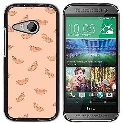 Hot Dog Peach Fast Food Pattern Junk–in alluminio e custodia posteriore in plastica rigida–nero–HTC One Mini 2/M8MINI - 2 ° Fast Peach
